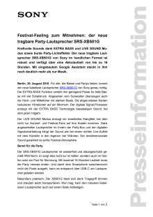 Festival-Feeling zum Mitnehmen: der neue tragbare Party-Lautsprecher SRS-XB501G