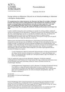 Sverige initierar en diskussion i Bryssel om en fortsatt användning av rökaromer i ekologiska charkprodukter