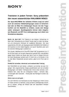 Trainieren in jedem Terrain: Sony präsentiert den neuen wasserdichten WALKMAN WS623