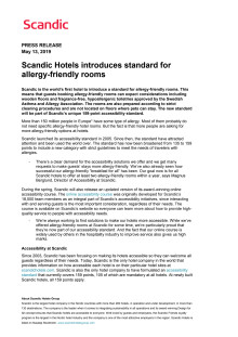 Scandic Hotels introduces standard for allergy-friendly rooms