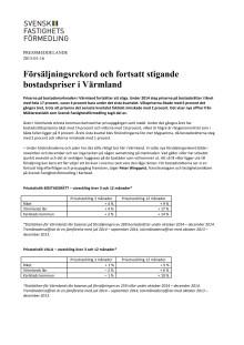 Försäljningsrekord och fortsatt stigande bostadspriser i Värmland