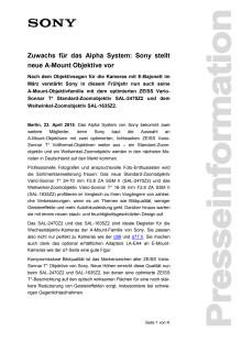 Zuwachs für das Alpha System: Sony stellt neue A-Mount Objektive vor