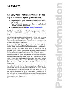Les Sony World Photography Awards 2018 désignent la meilleure photographe suisse