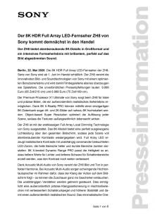 Der 8K HDR Full Array LED-Fernseher ZH8 von Sony kommt demnächst in den Handel