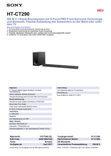 Datenblatt HT-CT290 von Sony