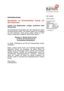 Einladung Eröffnung Schule Schwanebeck