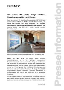 Life Space UX: Sony bringt 4K-Ultra-Kurzdistanzprojektor nach Europa