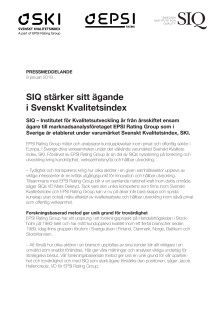 SIQ stärker sitt ägande i Svenskt Kvalitetsindex