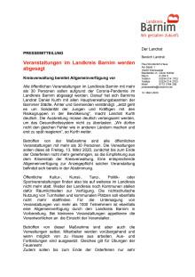 Veranstaltungen im Landkreis Barnim werden abgesagt