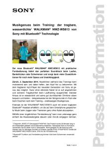 Musikgenuss beim Training: der tragbare, wasserdichte  WALKMAN® NWZ-WS613 von Sony mit Bluetooth® Technologie