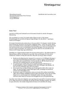 Elisabeth Thand Ringqvists brev till finansmarknadsminister Peter Norman