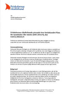 Friskolornas riksförbunds yttrande över betänkandet Plats för nyanlända i fler skolor (SOU 2016:9), dnr U2016/00264/S