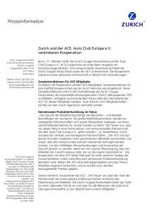 Zurich und der ACE, Auto Club Europa e.V. vereinbaren Kooperation
