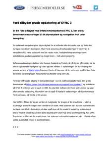 Ford tilbyder gratis opdatering af SYNC 3