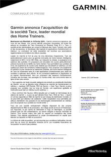 Garmin annonce l'acquisition de la société Tacx, leader mondial des Home Trainers