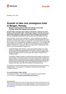 Scandic to take over prestigious hotel in Bergen, Norway