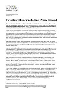 Fortsatta prisökningar på bostäder i Västra Götaland