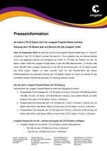 Ab sofort LTE 25 Option auch für congstar Prepaid-Pakete buchbar