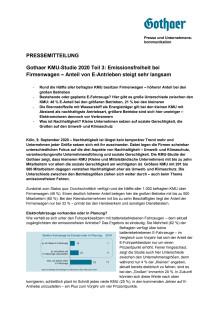 Gothaer KMU-Studie 2020 Teil 3: Emissionsfreiheit bei Firmenwagen – Anteil von E-Antrieben steigt sehr langsam