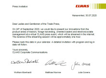Save the date - CLAAS press event