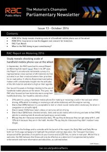 RAC Parliamentary Newsletter #13 - October 2016