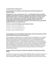 Vorweihnachtsstress? Prüfungsstress? Kostenfreie Webinare für Studenten an allen Hochschulen: Das Dezember-Programm der Deutschen Bildung