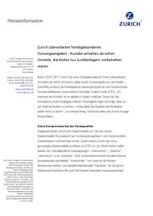 Zurich überarbeitet fondsgebundenes Vorsorgeangebot - Kunden erhalten ab sofort Vorteile, die bisher nur Großanlegern vorbehalten waren