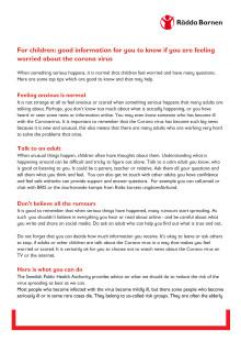 Engelska, riktat till barn: bra att känna till om du känner dig oro pga corona