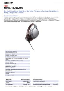 Datenblatt MDR-1ADACS von Sony