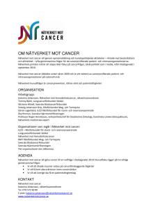 Faktablad om Nätverket mot cancer