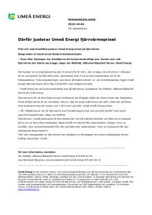 Därför justerar Umeå Energi fjärrvärmepriset