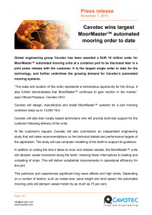 Cavotec wins largest MoorMaster™ automated mooring order to date