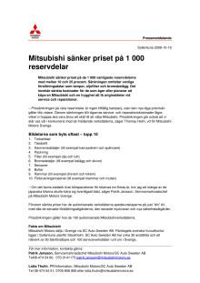 Mitsubishi sänker priset på 1000 reservdelar