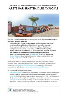 Inbjudan till Barnens presskonferens 19 april