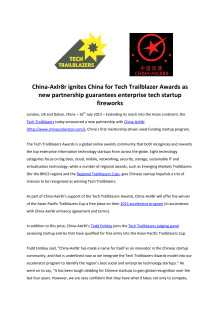 China-Axlr8r @chinaccelerator ignites China for Tech Trailblazer Awards as new partnership guarantees enterprise tech startup fireworks