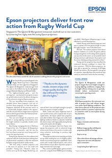 Epson projectors deliver front row action from Rugby World Cup