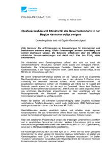 Region Hannover: Glasfaserausbau soll Attraktivität der Gewerbestandorte weiter steigern