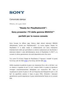 """""""Ready for PlayStation®5"""":  Sony presenta i TV della gamma BRAVIA™ perfetti per la nuova console"""