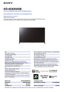 Datenblatt KD-65X8505B von Sony