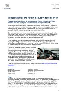 Peugeot 208 får pris för sin innovativa touch-screen
