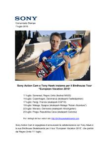 "Sony Action Cam e Tony Hawk insieme per il Birdhouse Tour ""European Vacation 2015"""