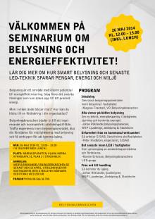 Inbjudan till seminarium om belysning och energieffektivitet