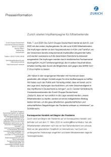 Zurich startet Impfkampagne für Mitarbeitende