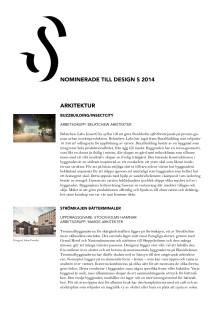 Nominerade i Design S 2014