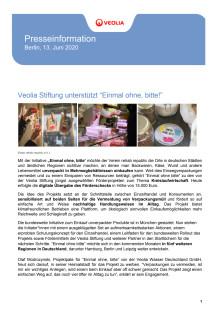 """Veolia Stiftung unterstützt """"Einmal ohne, bitte!"""""""