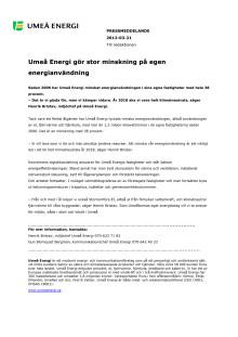 Umeå Energi gör stor minskning på egen energianvändning