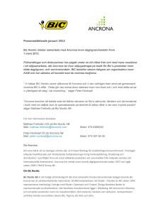 Bic Nordic inleder samarbete med Ancrona inom dagligvaruhandeln from 1 mars 2013