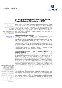 Zurich Wohngebäudeversicherung erstklassig: PrivatSchutz erreicht Bestnote bei M&M