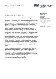 Pressemeldung zur Vorstellung der Studie auf der NordBau 2019 / 12.09.2019