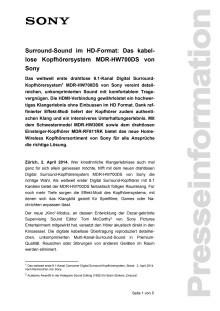 Medienmitteilung_MDR-HW700DS_D-CH_140402